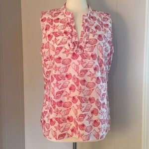 Talbots Red & White Shell Print Cotton Top - Large